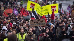 Manifestation contre la réforme des retraites à Nantes, le 10 décembre 2019. (LOIC VENANCE / AFP)
