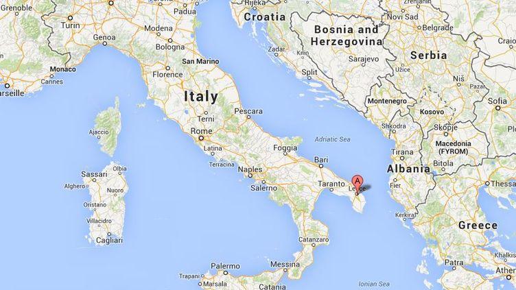 Capture d'écran de Google Maps pointantSan Cesario di Lecce (Italie) où un homme pesant 350 kg est mort, le 6 février 2014, en attendant une grue pour l'évacuer de son domicile. ( GOOGLE MAPS / FRANCETV INFO )