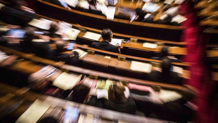 Dans l'hémicycle de l'Assemblée nationale lors d'une séance de questions au gouvernement, le 16 mars 2016. (HAMILTON / REA)