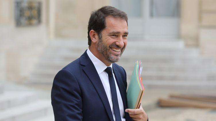Christophe Castaner, porte-parole du gouvernement et secrétaire d'Etat chargé des Relations avec le Parlement, le 2 août 2017, à la sortie de l'Elysée. (MAXPPP)