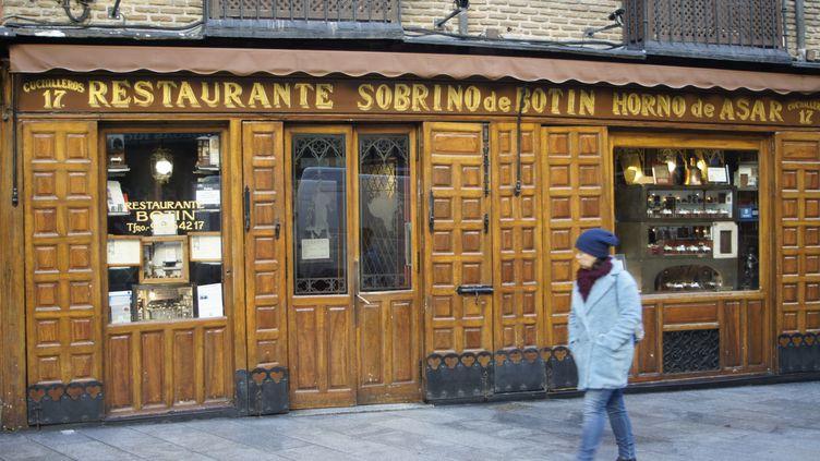 La façade du plus vieux restaurant du monde à Madrid, en Espagne, en janvier 2018. (MAXPPP)
