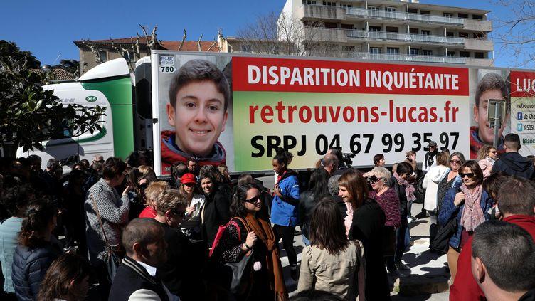 Une mobilisation organisée le 16 mars 2019 à Bagnols-sur-Cèze (Gard)en hommage à Lucas Tronche, disparu en mars 2015. (MAXPPP)