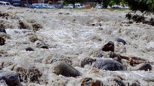 Le gave de Pau en crueàPierrefitte-Nestalas (Hautes-Pyrénées), le 19 juin 2013. Dans le village, une septuagénaire est morte le 19 juin, victime de cette crue exceptionnelle. (PASCAL PAVANI / AFP)