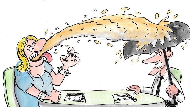 Le débat de l'entre-deux-tours de l'élection présidentielle entre Marine Le Pen et Emmanuel Macron, vu par le dessinateur Philippe Morelle, le 3 mai 2017. (PHILIPPE MORELLE / FACEBOOK)