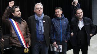 François Ruffin, Pierre Laurent, Olivier Besancenot et Benoît Hamon (de g. à d.), le 5 avril 2018, à Woincourt (Somme). (MAXPPP)