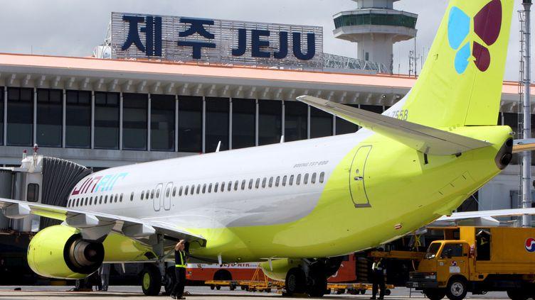 Un avion de la compagnie low-cost sud-coréenne Jin Air, le 17 juillet 2008 sur l'île de Jeju (Corée du Sud). (MAXPPP)