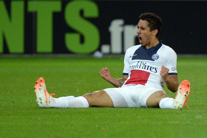 Le Parisien Marquinhos a inscrit l'un des trois buts parisiens face à Lille. (DENIS CHARLET / AFP)