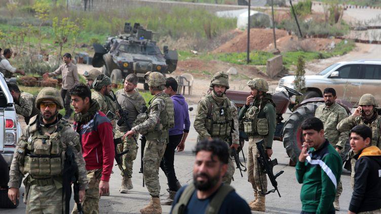 En mars 2018, l'armée turque, ici à un check-point, a pris le contrôle d'Afrin dans le nord-ouest de la Syrie. (MAXPPP)