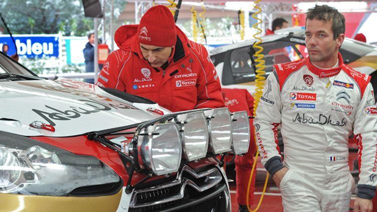 Sébastien Loeb au départ du rallye de Monte-Carlo 2013