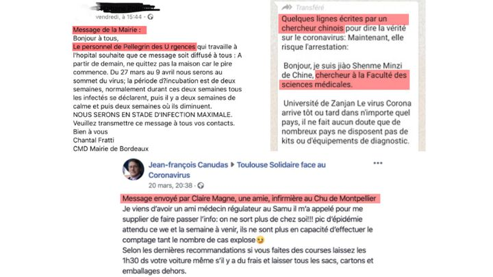 Des captures d'écran de message alarmistes sur le coronavirus, partagés via les réseaux sociaux. (CAPTURES ECRAN)