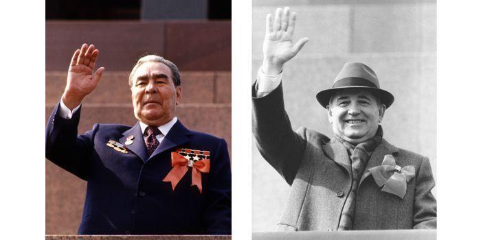 A gauche Leonid Brejnev, à droite, Gorbatchev. Autre temps, autre style.  (Tass)
