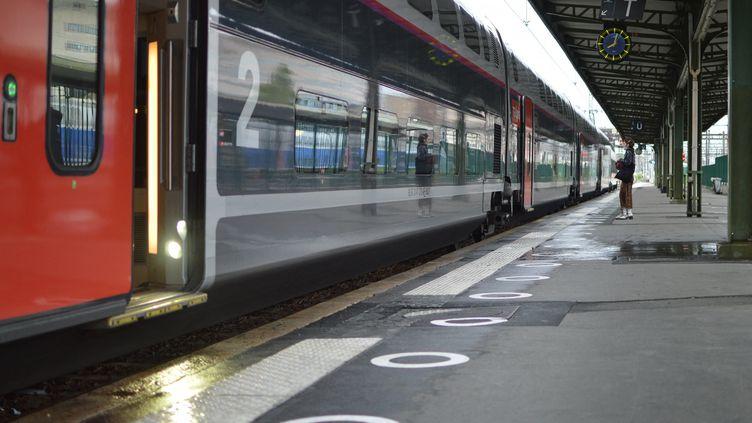 Un TGV s'apprête à partir de la gare de Lyon, à Paris, le 11 mai 2020 (Illustration). (VICTOR VASSEUR / RADIO FRANCE)