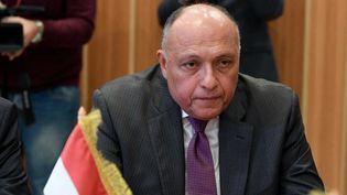 Le chef de la diplomatie égyptienne, à Tunis, le 17 décembre 2017. (FETHI BELAID / AFP)
