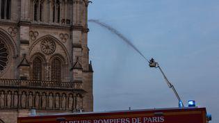 Un pompier tente d'éteindre l'incendie de Notre-Dame à Paris, le 15 avril 2019. (HANS LUCAS)