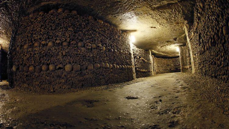 Des crânes et des ossements empilés dans les catacombes de Paris, le 14 octobre 2014. (PATRICK KOVARIK / AFP)