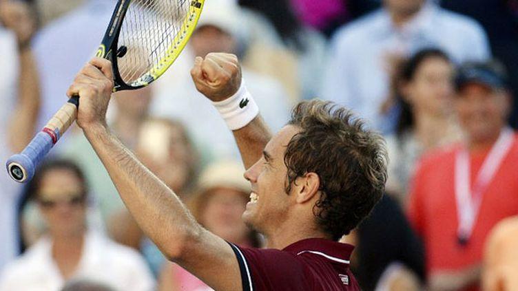 La joie de Richard Gasquet, qualifié pour les demi-finales de l'US Open