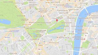 Un homme armé d'un couteau a blessé deux policiers lors de son arrestation sur The Mall, une avenue qui mène à Buckingham Palace à Londres, le 25 août 2017. (GOOGLE MAPS)