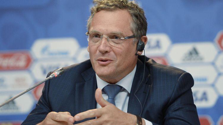Jérôme Valcke, alors secrétaire général de la Fifa, lors d'une conférence de presse, le 24 juillet 2015, à Saint-Pétersbourg (Russie). (ALEXEI DANICHEV / RIA NOVOSTI / AFP)