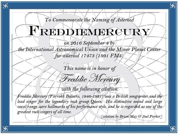 Le certificat officiel de l'astéroïde Freddie Mercury.  (International Astronomical Union and The Minor Planet Center)