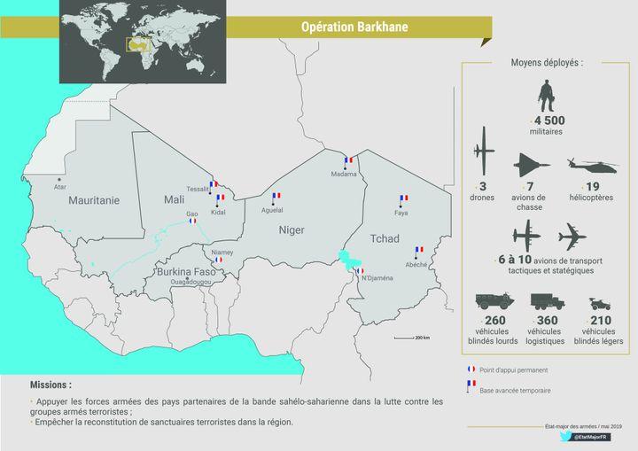 L'opération arkhane s'étend du Mali au Tchad. (Ministère de la Défense)