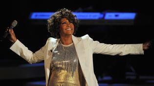 La chanteuse américaine Whitney Houston, le 3 octobre 2009, lors d'un concert en Allemagne. (PATRICK SEEGER / AFP)