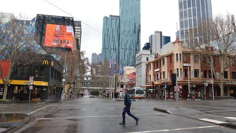 Les ruesdésertes de Melbourne (Australie),le 20 juillet 2021. (RECEP SAKAR / ANADOLU AGENCY)
