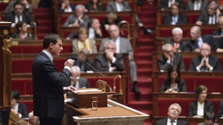 Premier ministre Manuel Valls devant les députés le 29 avril 2014 (ERIC FEFERBERG / AFP)