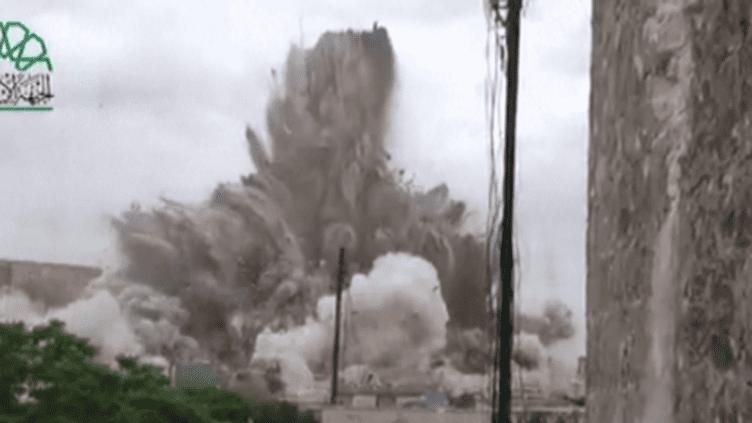 Capture d'écran explosion hôtel Carlton d'Alep (DR)
