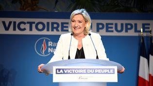 La présidente du Rassemblement national, Marine Le Pen, s'exprime après les résultats des élections européennes, le 26 mai 2019 à Paris. (BERTRAND GUAY / AFP)