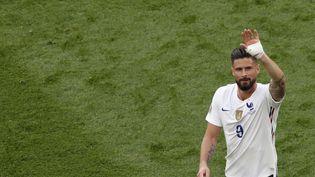Olivier Giroud lors du match de l'Euro contre la Hongrie à Budapest, le 19 juin 2021. (LASZLO BALOGH / AFP)