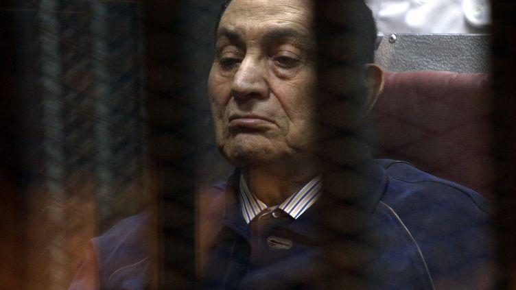 L'ex-président égyptien Hosni Moubarak, le 31 mai 2014 au Caire (Egypte). (TARIK EL-CEBBAS / ANADOLU AGENCY / AFP)
