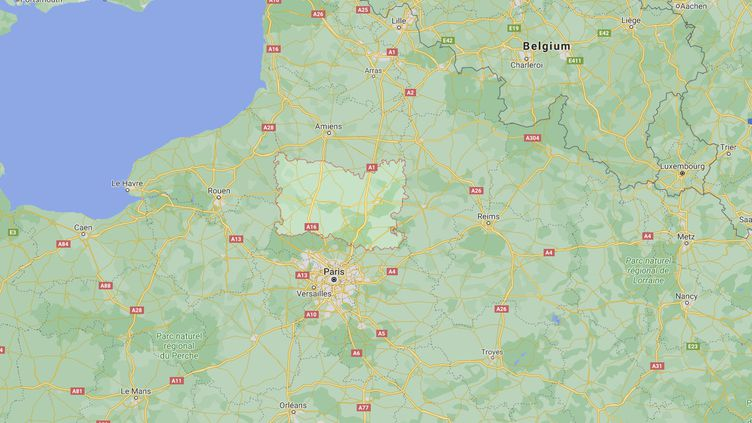 Capture d'écran de Googlemaps pointant le département de l'Oise où dix tigres d'un dresseur ont été saisis, le 16 décembre 2020. (GOOGLEMAPS)