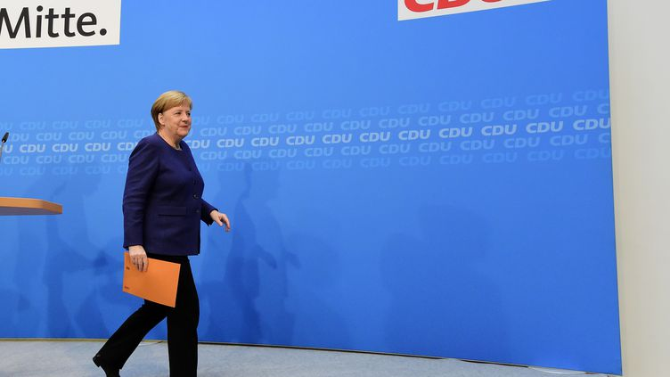 La Chancelière allemande Angela Merkel après une conférence de presse, le 5 novembre 2018 à Berlin. Photo d'illustration. (TOBIAS SCHWARZ / AFP)