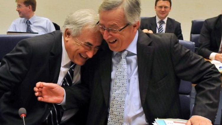 Dominique Strauss-Kahn et Jean-Claude Juncker (7 juin 2010) (GEORGES GOBET / AFP)