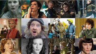 """L'actrice Cate Blanchett, une artiste polymorphe (en haut, de gauche à droite : """"Le Hobbit : La Bataille des cinq armées"""", """"Manifesto"""", """"Thor : Ragnarok"""", """"Les Disparues"""" ; en bas de gauche à droite : """"Carol"""", """"Manifesto"""", """"La Vie aquatique"""", """"I'm not here""""). (MONTAGE CULTUREBOX)"""