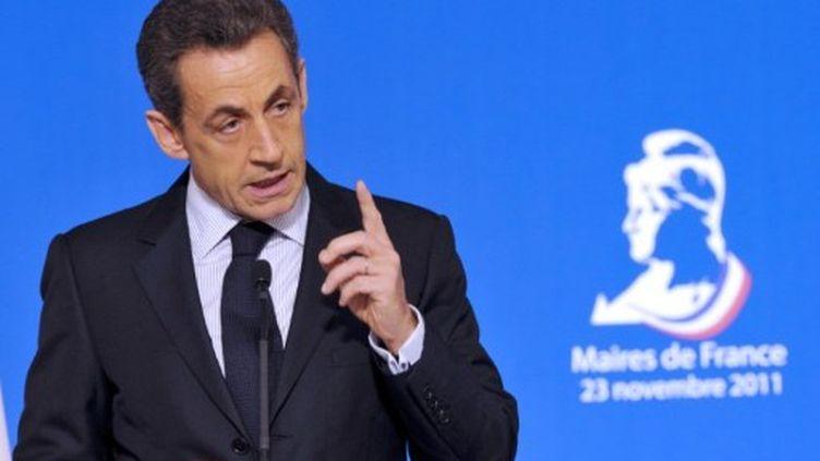 Nicolas Sarkozy devant 2000 maires, à l'Elysée (23 novembre 2011) (AFP/PHILIPPE WOJAZER)