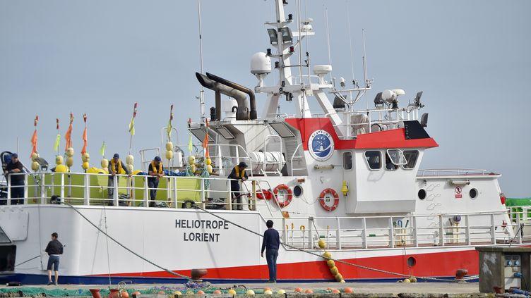 C'est dans ce bateau, sur le port de Lorient (Morbihan), qu'un des trois bébés congelés a été découvert le 11 juillet 2017. (LOIC VENANCE / AFP)