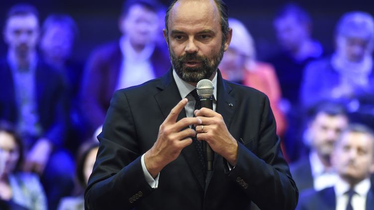 Le Premier ministre Edouard Philippe lors d'un meeting de La République en marche à Valenciennes (Nord), le 21 mai 2019. (FRANCOIS LO PRESTI / AFP)