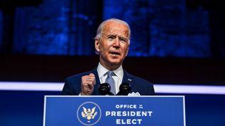 Leprésident américain élu Joe Biden lors d'une conférence de presse à Wilmington (Delaware) le 24 novembre 2020. (CHANDAN KHANNA / AFP)