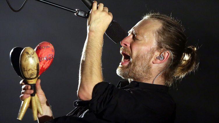 Thom Yorke en concert avec Radiohead à Strasbourg le 16 octobre 2012.  (Photo PQR/L'Alsace/ V Meyer Wirckel / MaxPPP)