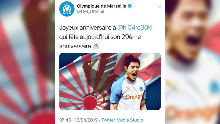 Le tweet de l'OM (effacé depuis), avec le drapeau de l'armée impériale japonaise, le 12 avril 2019. (TWITTER / FRANCEINFO)