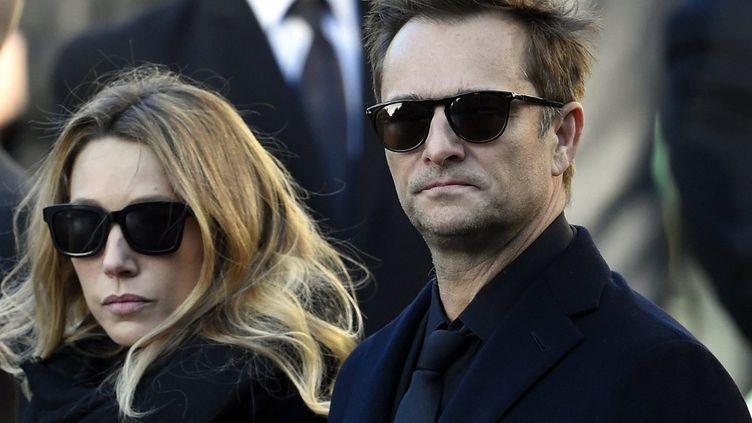 Laura Smet et David Hallyday le 9 décembre 2017, lors des obsèques de Johnny Hallyday.  (Alexandre Marchi / PHOTOPQR/L'EST REPUBLICAIN/MAXPPP)