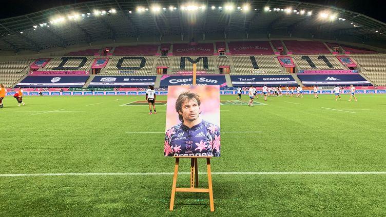 Le portrait hommage à Christophe Dominici dimanche lors de match Stade-Français-Toulon.