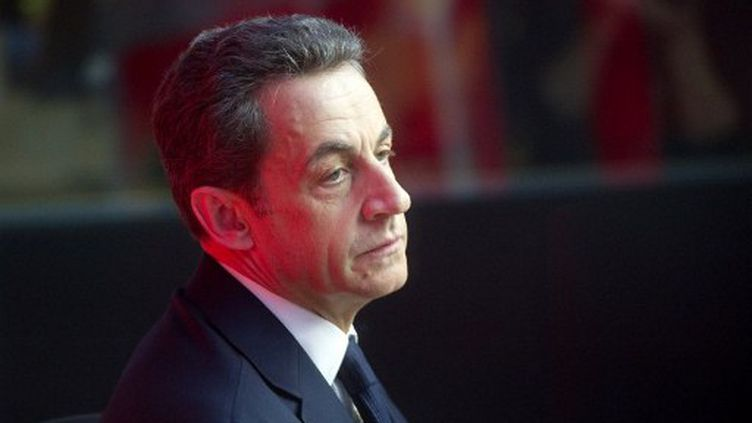 Nicolas Sarkozy dans les locaux de France Inter à Paris le 17 avril (LIONEL BONAVENTURE / AFP)