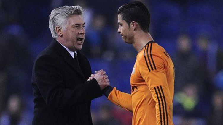 L'entraîneur du Real Madrid, Carlo Ancelotti et son joueur Cristiano Ronaldo