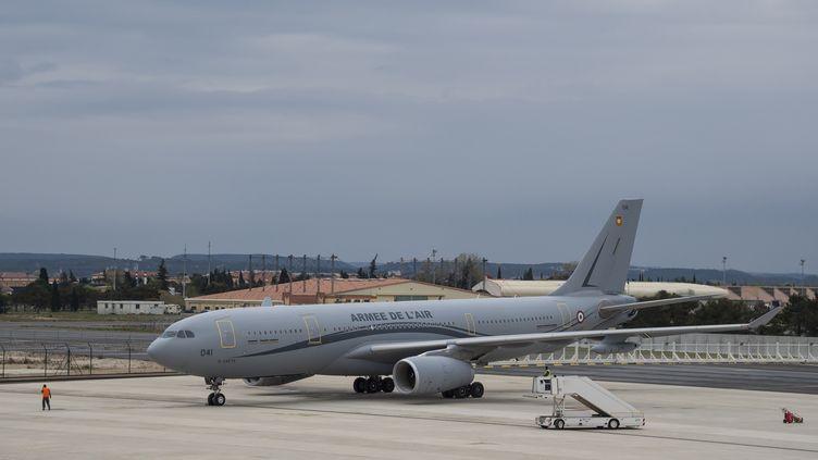 L'A330 médicalisé de l'armée de l'air française, le 24 mars 2020 à Istres (Bouches-du-Rhône). (OLIVIER FABRE / MINISTERE DES ARMEES / AFP)