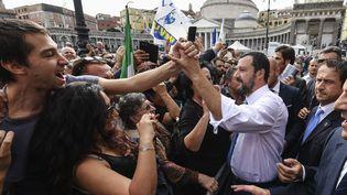 Matteo Salvini lors d'un bain de foule le 26février2018 à Naples. (SALVATORE LAPORTA / IPA / MAXPPP)