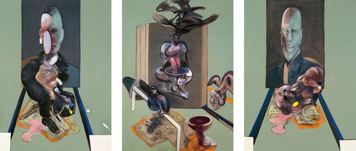 """Francis Bacon, """"Tritych"""", 1976, Collection privée (© The Estate of Francis Bacon /All rights reserved / Adagp, Paris and DACS , London 2019 © The Estate of Francis Bacon. All rights reserved. DACS /Artimage 2019. Photo: Prudence Cuming Associates Ltd)"""