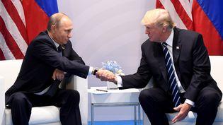 Vladimir Poutine et Donald Trump lors d'une réunion du G20 à Hambourg, en Allemagne, le 7 juillet 2017. (SAUL LOEB / AFP)