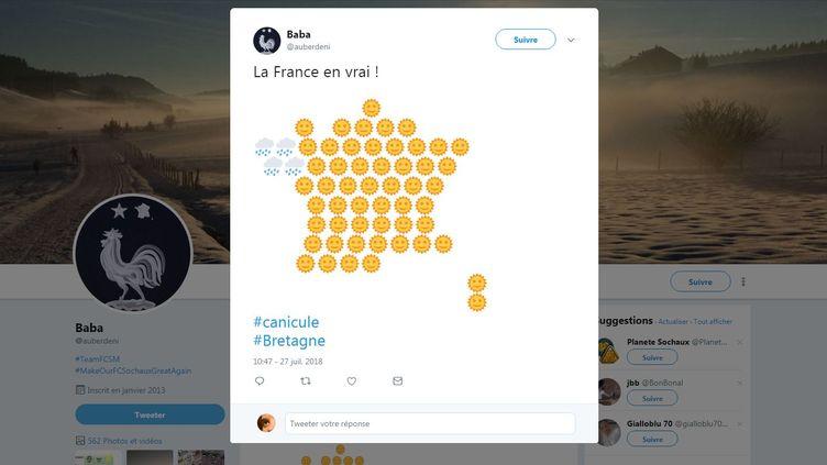 Les internautes ironisent sur la météo en Bretagne. (@AUBERDENI / TWITTER)